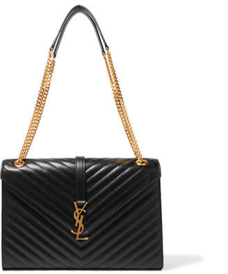 Saint Laurent Cassandre Large Quilted Textured-leather Shoulder Bag - Black