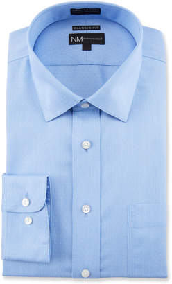 Neiman Marcus Men's Classic Fit Non-Iron Dot Textured Solid Dress Shirt with Pocket