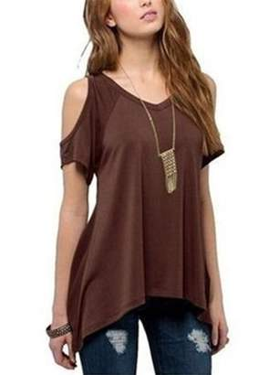Lovaru Solid Color Women Cold Shoulder Cotton Simple T-shirt