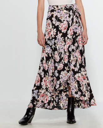 Band of Gypsies Floral Wrap Maxi Skirt