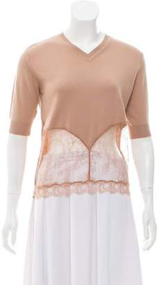 No.21 No. 21 Lace-Accented Short Sleeve Sweater