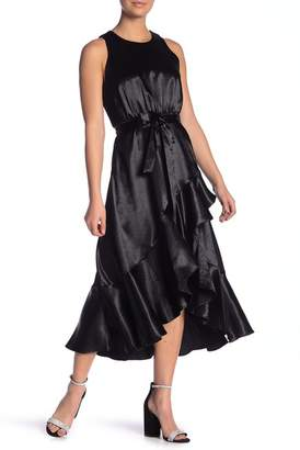 Taylor Satin Ruffled Hi-Lo Dress