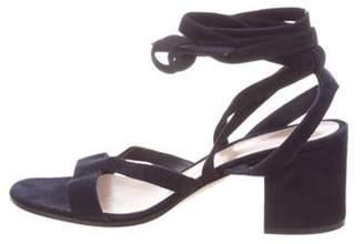 Gianvito Rossi Suede Wrap-Around Sandals Navy Suede Wrap-Around Sandals