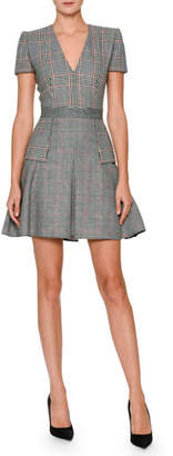 Alexander McQueen V-Neck Short-Sleeve Mixed-Plaid Dress