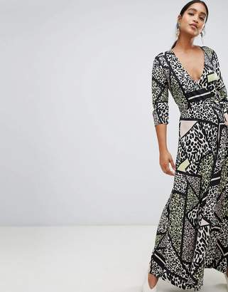 Liquorish leopard animal print wrap maxi dress