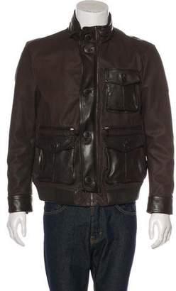 Giorgio Armani Embossed Leather Cargo Jacket