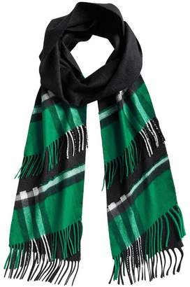 Burberry tartan panel detail cashmere scarf