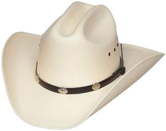 Express Western Classic Cattleman Straw Cowboy Hat with Silver Conchos and Elastic Band - S/M