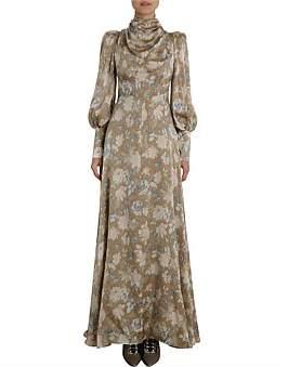 Zimmermann Unbridled Cowl Neck Silk Dress