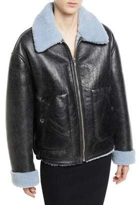 McQ Reversible Leather Shearling Aviator Jacket