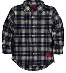Haus of JR Kids' Cotton Plaid Flannel Shirt-Navy
