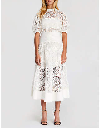 Self-Portrait Balloon-sleeve lace dress