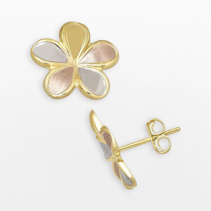Everlasting gold 14k gold tri-tone floral stud earrings