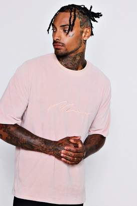 boohoo Drop Shoulder MAN Signature Velour T-Shirt