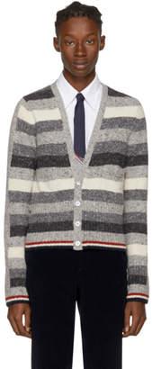 Thom Browne Grey Mohair Multistripe V-Neck Cardigan
