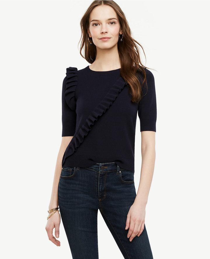 Ruffle Front Sweater