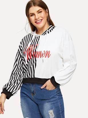 Shein Plus Stripe & Letter Print Hoodie