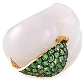 Édéenne 'The Secret Peach' diamond tsavorite 18k gold ring