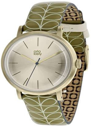 Lola Rose Orla Kiely Watch, Green Leather Strap With Buckle Closure