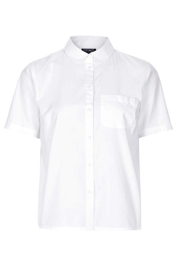 Topshop Short sleeve cotton basic shirt with front pocket detail in white. 100% cotton. machine washable.