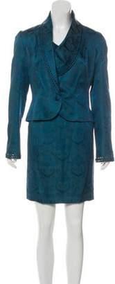 Thierry Mugler Vintage Jacquard Skit Suit Teal Vintage Jacquard Skit Suit