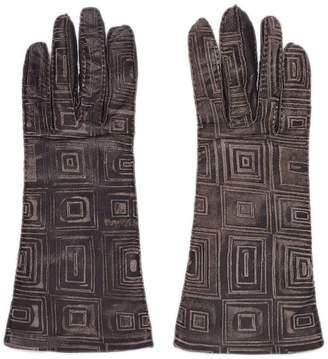 Hermes Brown Lambskin Patterned Gloves