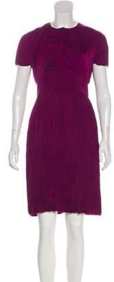 Burberry Pleated Knee-Length Dress Purple Pleated Knee-Length Dress