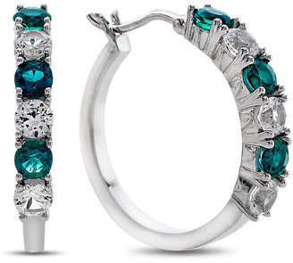 FINE JEWELRY Lab-Created Emerald & Lab-Created White Sapphire Sterling Silver Hoop Earrings