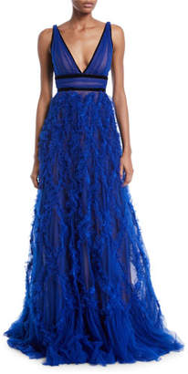 Marchesa Lattice Textured & Velvet Trim Gown