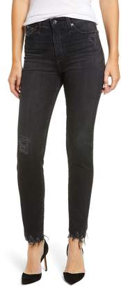 AG Jeans The Sophia High Waist Chewed Ankle Skinny Jeans