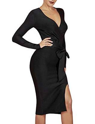 Maketina Women's Deep V Neck Long Sleeve Slitted with Belt Club Bodycon Cocktail Bandage Midi Dress XL