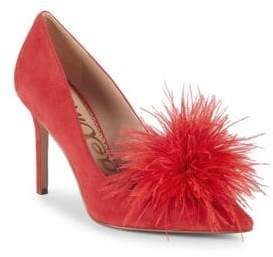 Sam Edelman Haide Feather-Trimmed Suede Pumps