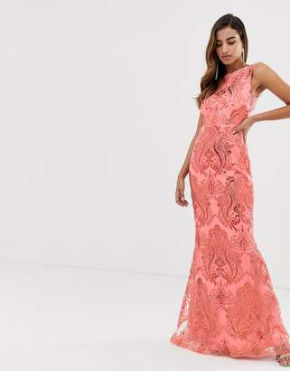 Goddiva sequin embroidery maxi dress with fishtail in coral