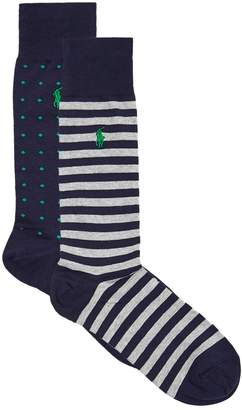 Ralph Lauren Polka Dot and Stripe Socks (Pack of 2)