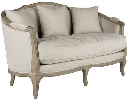 Linen European Furniture - Natural Linen Settee