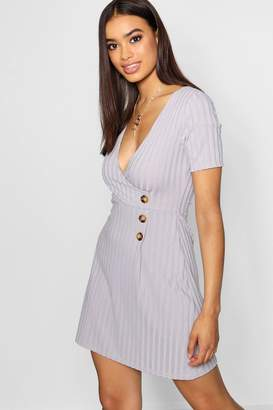 boohoo Wrap Over Horn Button Rib Knit Swing Dress