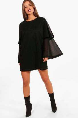 boohoo Petite Glitter Tired Sleeve Shift Dress