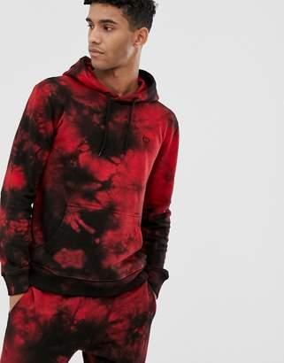 Criminal Damage tie dye hoodie black and red