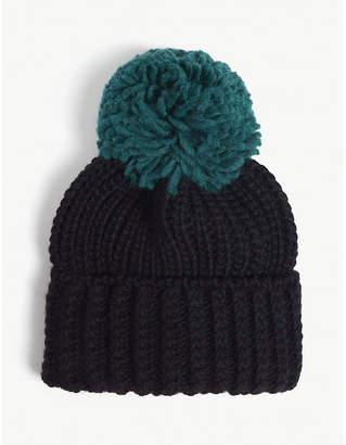 Sandro Large pom pom knitted beanie