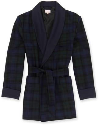 Derek Rose Black Watch Tartan Wool Smoking Jacket