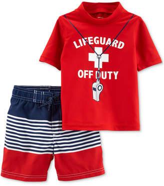 ddd4f38d27 Carter's Carter Baby Boys 2-Pc. Life Guard Graphic Rash Guard & Swim Trunks