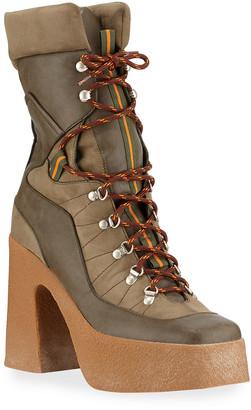 Stella McCartney Chunky Gum-Heel Lace-Up Boots