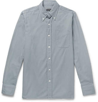 Tom Ford Slim-Fit Button-Down Collar Puppytooth Cotton Shirt