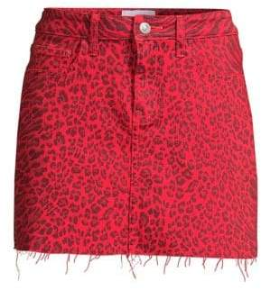 Current/Elliott The Five-Pocket Leopard Mini Skirt
