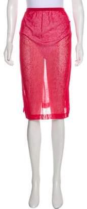 Chanel Semi-Sheer Knee-Length Skirt Red Semi-Sheer Knee-Length Skirt