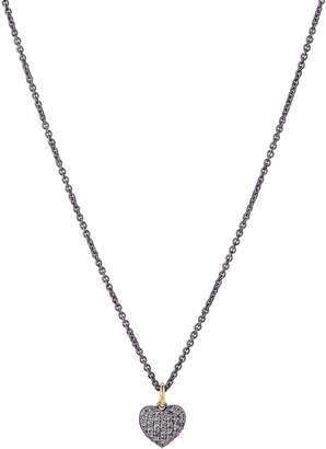 La Soula Black Ruthenium Heart-Shaped Diamond Accented Pendant & Necklace