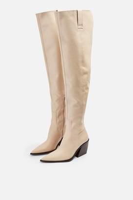 Topshop Womens Brave Western Boots - Ecru