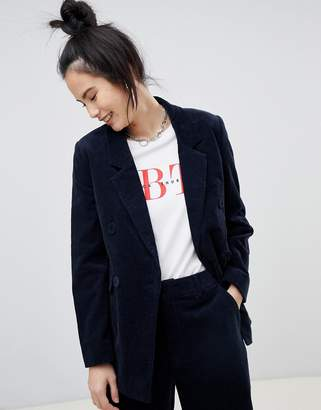 Pull&Bear double breasted cord blazer in navy