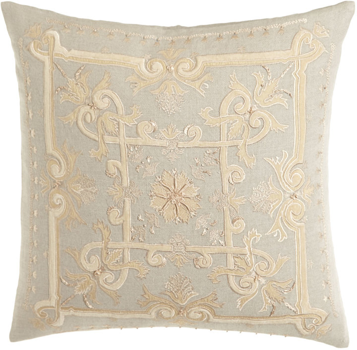 "Callisto Callisto Home Como Embroidered Linen Pillow, 22""Sq."
