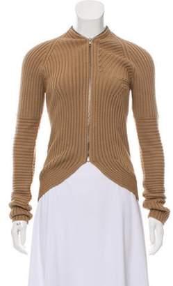 Derek Lam Rib Knit Zip-Up Cardigan Brown Rib Knit Zip-Up Cardigan